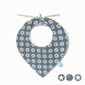 Bavoir bandana bébé  6 à 18 mois tissu coton bleu étoiles blanches doublé éponge ,fait main.