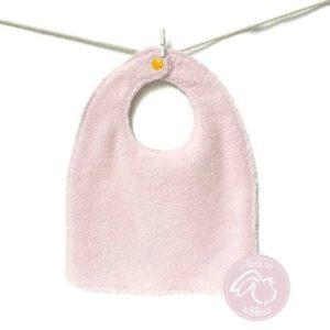 Bavoir bébé  tissu coton rayure motif chat doublé éponge rose ,fait main.