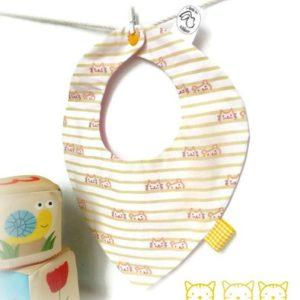 Bavoir bébé 6 à 18 mois tissu coton rayure motif chat doublé tissu rose,fait main.
