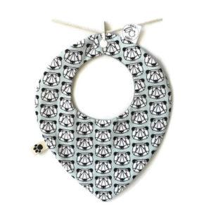 Bavoir forme bandana bébé  6 à 18 mois tissu coton mint motif origami ,fait main.