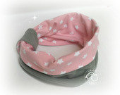 Snood bébé, tour de cou.Rose étoiles blanche doublé  gris  .12 / 18 mois. Collection printemps.