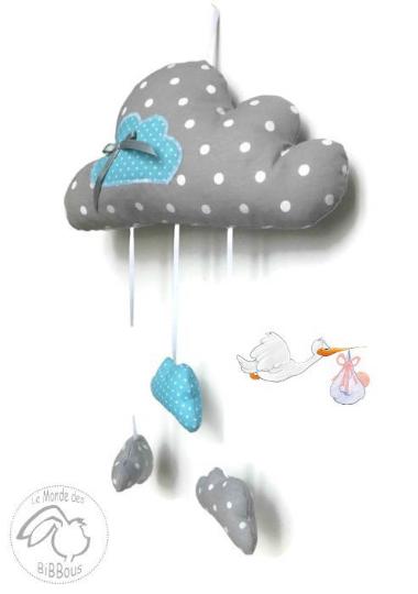 mobile nuage gris et bleu pois d coration murale pour chambre de b b originale fait main. Black Bedroom Furniture Sets. Home Design Ideas