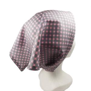 Foulard bandeau de tête ou tour de cou , gris et rose  .Fermeture pression. original , tendance.