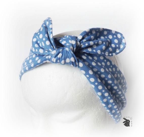 qualité fiable plus grand choix qualité parfaite Bandeau cheveux, serre tête enfant . Bleu pois blanc. Multiposition. Fait  main .