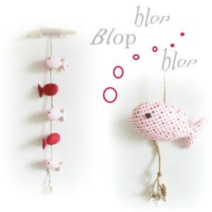 Mobile bois flotté et poissons tissus rose ,suspendus.Originale et unique. fait mains