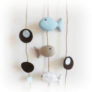 Décoration chambre d'enfant.Poissons bleu , taupe, blanc à motif , bulles feutrine, bois flotté