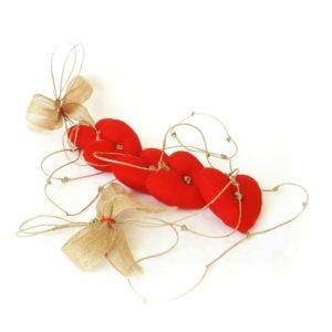 Guirlande Coeurs rouge sur ficelle de lin.Fait main.Originale, unique.