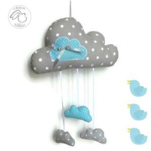 Mobile nuage gris et bleu à pois  .Décoration murale pour chambre de bébé originale. Fait main.