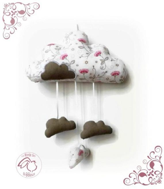 Nuage suspendre tissu fleuri rose et taupe d coration for Tissu pour chambre bebe