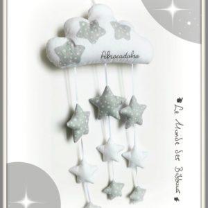 Nuage blanc et étoiles grises et blanches brodé Abracadabra  .Décoration murale pour chambre de bébé originale. Fait main.
