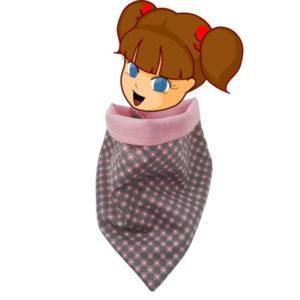 Foulard pour enfant forme bandana , coton gris et rose doublé coton rose, fermeture pression jaune.