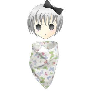 Foulard pour enfant forme bandana , tissu coton blanc papillons bleus, vert….