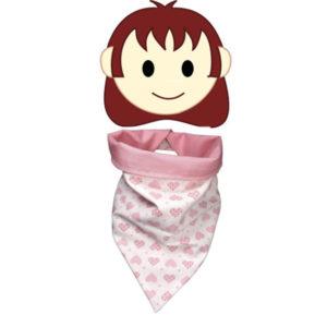 Foulard pour enfant forme bandana , coton blanc coeurs roses doublé coton rose, fermeture pression coeur
