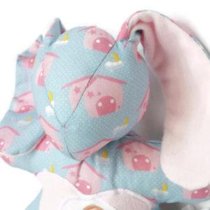 Doudou Lapin  Bibbou pour enfant.Bleu et rose. Tissus biologiques oeko tex . Original, fait main.