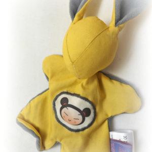 Doudou lapin,  kawaii jaune . Tissus Oeko tex .Norme CE. Original , fait main.