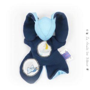Doudou lapin pour bébé bleu, appliqués étoile nuage et lune.Fait main, Unique et original.