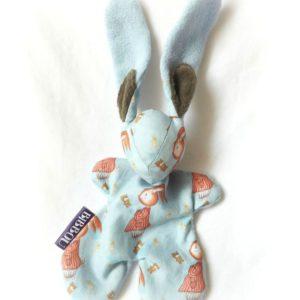 """Doudou lapin pour bébé. """"Monsieur Lapin"""" Tissu  Illustration originale .Cadeau de naissance. Fait main."""