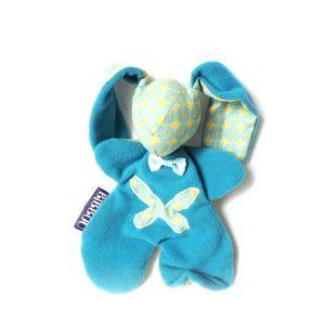 """Doudou lapin pour bébé. Moubbi """" smart"""" ,Papillon bleu et jaune.Fait main, Unique et original."""