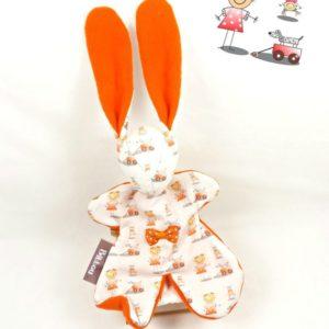 Doudou lapin , orange avec nœud à pois.Fait main, Unique et original.