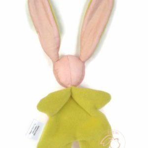 Doudou lapin pour bébé,rose et vert anis. Appliqué sucette au crochet .Norme CE. Original , fait main.