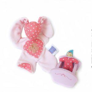 """Doudou lapin pour bébé """"Rosi rose """" ."""