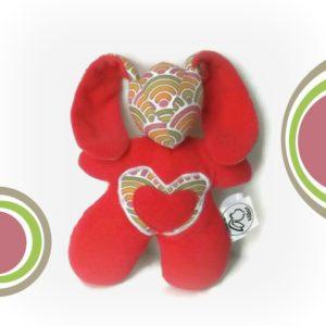 Doudou Lapin rose aux couleurs pétillantes  Bibbou Junior.Tissus biologiques oeko tex . Original, fait main.