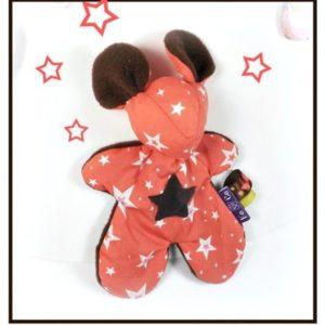 """Doudou souris """" Fidzy"""" doux et moelleux.Rose et marron, motifs étoiles. Pour Bébé.Original."""