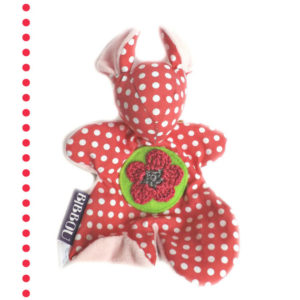 """Doudou souris """" Fidzy"""" pour bébé.Rose pois blanc . Fleur au crochet .Original. Fait main."""