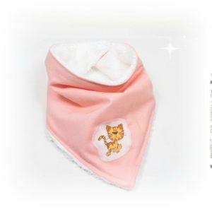 Bavoir bandana bébé rose , appliqué petit chat.Evolutif :Ajustable par pressions.