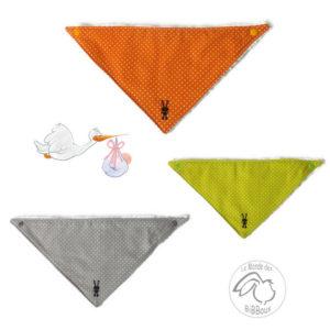 Bavoirs bandana  gris , vert anis,orange au choix.Tissu coton doublé éponge.Fait main.