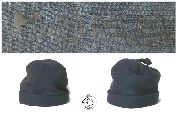 34e877c9bb84 Bonnet bébé 6 18 mois bleu marine.Coton tissus jogging , réversible ...