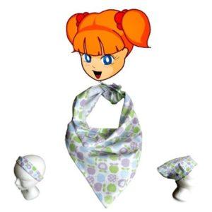 Foulard bandeau de tête ou tour de cou , pour enfant ou bébé.Pommes bleu mauve vert. original , tendance.
