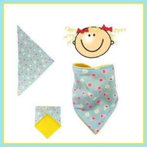 Tour de cou,bandana, pour bébé 12/36mois ,bleu, oiseaux et fleurs , doublé polaire jaune,réversible, fermeture pressions.