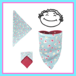 Tour de cou,bandana,pour bébé,bleu, oiseaux et fleurs , doublé polaire rose,réversible, fermeture pressions.