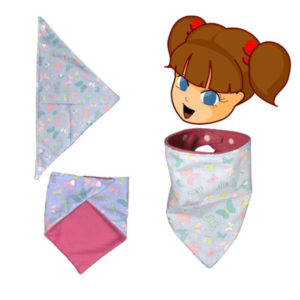 Tour de cou pour enfant ,bleu,papillons et fleurs multicolore , réversible, fermeture pression.