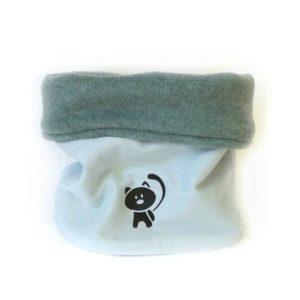 Snood enfant, tour de cou .Bleu ciel motif chat.Tissus biologique 100% Oeko tex .18/36 mois