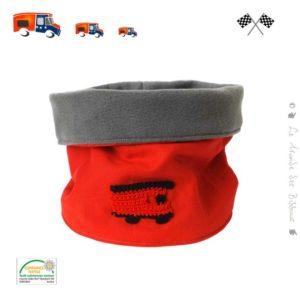 Snood enfant, tour de cou  . Uni rouge , camion de pompier au crochet.Tissus bio 100% Oeko tex
