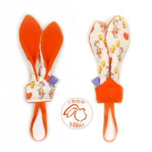 Attache sucette orange motif ours ballons. Tissu coton et polaire  Oekotex.Oreilles lapin.Original.Fait main.