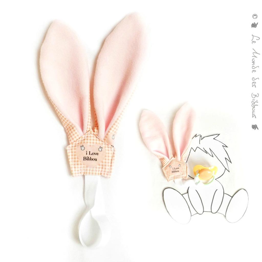 attache sucette rose tissu coton et polaire oeko tex oreilles lapin original fait main kore co. Black Bedroom Furniture Sets. Home Design Ideas