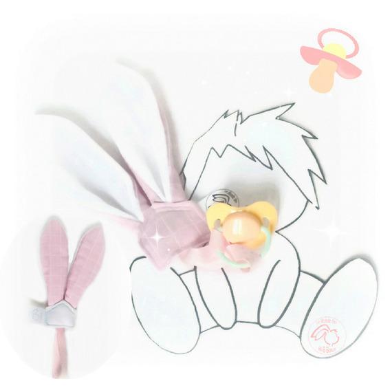 attache sucette rose tissu lange bio et polaire oeko tex oreilles lapin original fait main. Black Bedroom Furniture Sets. Home Design Ideas