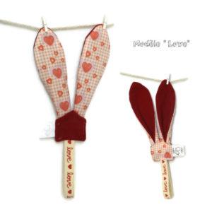 Attache sucette . Tissu coton et polaire  Oeko tex.Oreilles lapin.Original.Fait main.