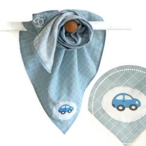 Lange  coton biologique  GOTS vert d'eau , appliqué tissu voiture.Fait main .