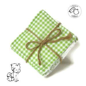 Lot de lingette lavables tissu coton vichy vert et éponge blanche. fait main.