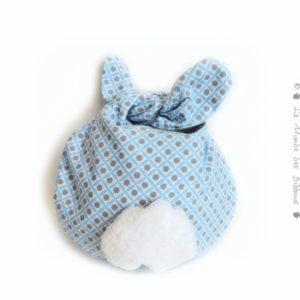 """Range doudou  """" Nid câlin """" tissu coton bleu et gris, doublé. Pratique et ludique. original fait main"""