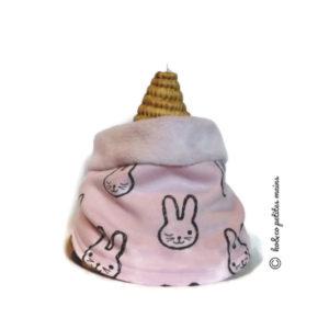 Snood enfant, tour de cou, rose motif lapin.Demi saison .Collection Automne .