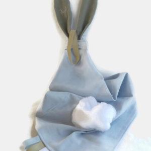 Doudou lange avec oreilles de lapin. Personnalisé  …. RESERVE CAMILLE.