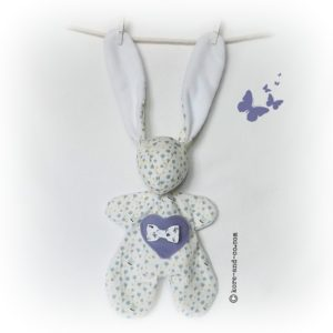 Doudou lapin fleurs et papillons.Illustration unique .Made in france.