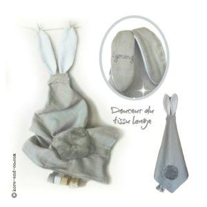Doudou lange avec oreilles de lapin. Personnalisé  …. RESERVE  LYORENZ ♥