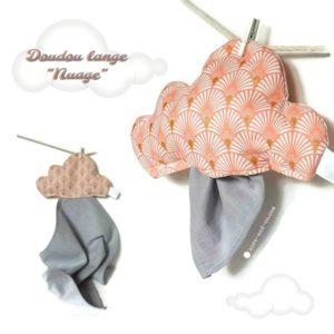 Doudou nuage  tissu coton rose et lange gris.Unique et original . Fait main.