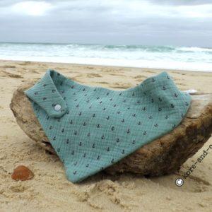 Bandana, tour de cou bébé enfant, vert,motif ancres marine, double gaze de coton .